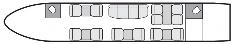 Interior layout plan of Bombardier Challenger 850 SE, short & medium range business jets charters, cabine de grandes dimensions, aménagement VIP, max. of passengers: 16, with crew: 2 pilots, 1 or 2 flight attendant, available for private business jets charter with a Business Jet.