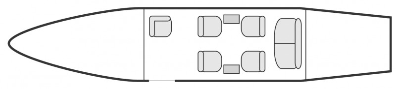 Interior layout plan of Bombardier LearJet 35, short & Medium range Business Jets Charters, light size cabin aircraft, max. of passengers: 7, with crew: 2 pilots, available for private business jets charter with a Air Taxi.