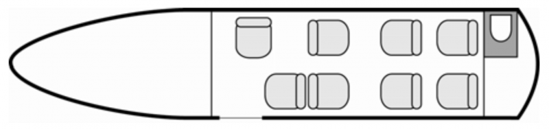 Interior layout plan of Cessna Citation III, short & Medium range Business Jets Charters, mid size, stand-up cabin aircraft, max. of passengers: 8, with crew: 2 pilots, available for private business jets charter with a Private Aircraft.