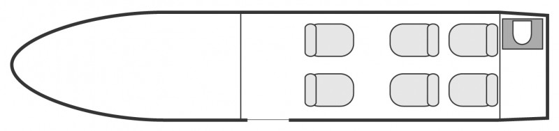 Interior layout plan of Cessna CitationJet CJ2, short & Medium range Business Jets Charters, light size cabin aircraft, max. of passengers: 6, with crew: 2 pilots, available for private business jets charter with a Private Jet.