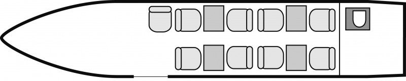 Interior layout plan of Cessna Citation Sovereign, short & Medium range Business Jets Charters, cabine de dimensions moyennes, max. of passengers: 9, with crew: 2 pilots, available for private business jets charter with a Private Aircraft.