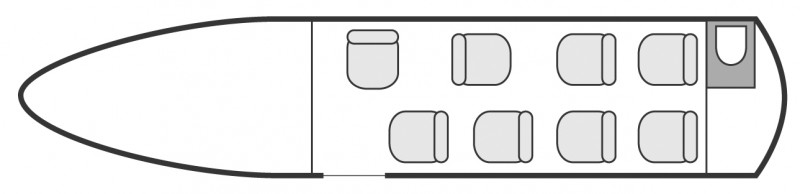 Interior layout plan of Cessna Citation VII, short & Medium range Business Jets Charters, mid size, stand-up cabin aircraft, max. of passengers: 9, with crew: 2 pilots, available for private business jets charter with a Business Jet.