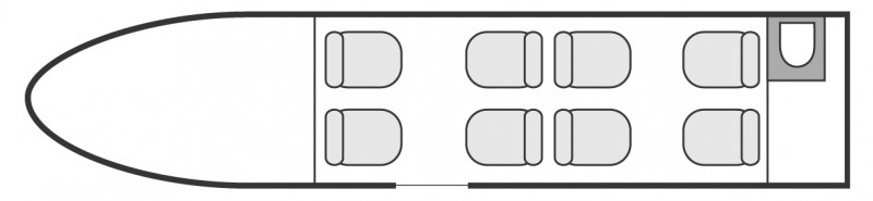 Interior layout plan of Cessna Citation V Ultra, short & Medium range Business Jets Charters, light size cabin aircraft, max. of passengers: 8, with crew: 2 pilots, available for private business jets charter with a Air taxi.