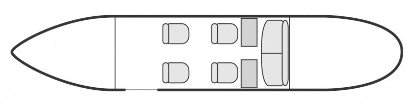 Interior layout plan of Dassault Falcon 10, short & Medium range Business Jets Charters, light size cabin aircraft, max. of passengers: 6, with crew: 2 pilots, available for private business jets charter with a Air Taxi.