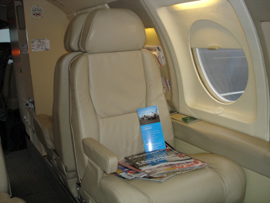 Dassault Falcon 10, Air Taxi, used by Private Jet Charter service from AB Corporate Aviation, showing dassault-falcon-10-flying-seat.