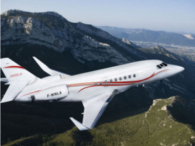 Image falcon-2000lx-flying of Dassault Falcon 2000 available for rent of flights with a Business Jet