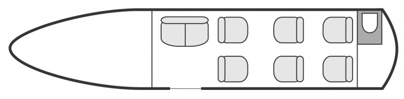 Interior layout plan of Embraer Legacy 450, short & Medium range Business Jets Charters, mid size, stand-up cabin aircraft, max. of passengers: 8, with crew: 2 pilots, available for private business jets charter with a Business Aircraft.