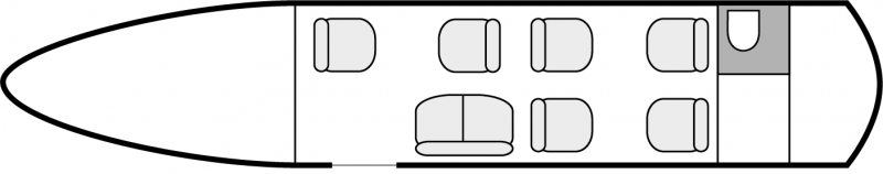 Interior layout plan of Gulfstream 150, short & medium range business jets charters, cabine de dimensions moyennes, max. of passengers: 8, with crew: 2 pilots, 1 flight attendant, available for private business jets charter with a Business Jet.