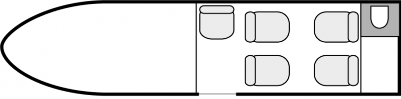 Interior layout plan of HondaJet, short & medium range business jets charters, cabine de dimensions standard, max. of passengers: 5, with crew: 2 pilots, available for private business jets charter with a Air taxi.