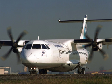 ATR 42, Airliner, used by Private Jet Charter service from AB Corporate Aviation, showing atr-42-landing.