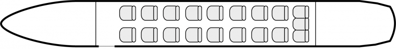 Interior layout plan of Beechcraft 1900 Airliner, short range Business Aircraft Charter, cabine de dimensions standard, aménagement avion de ligne, max. of passengers: 19, with crew: 2 pilots, 1 flight attendant, available for private business jets charter with a Business Aircraft.