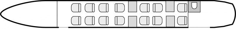 Interior layout plan of Beechcraft 1900D VIP, short range Business Aircraft Charters, light size cabin aircraft, VIP accomodation, max. of passengers: 14, with crew: 2 pilots, 1 flight attendant, available for private business jets charter with a Business Aircraft.