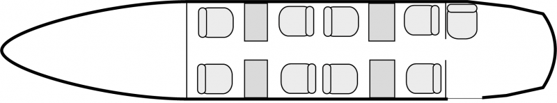Interior layout plan of Beechcraft King Air 350, short range Business Aircraft Charters, cabine de dimensions standard, max. of passengers: 9, with crew: 2 pilots, available for private business jets charter with a Business Aircraft.