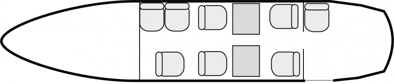 Interior layout plan of Beechcraft Super King Air 200, short range Business Aircraft Charters, cabine de dimensions standard, max. of passengers: 9, with crew: 2 pilots, available for private business jets charter with a Air taxi.