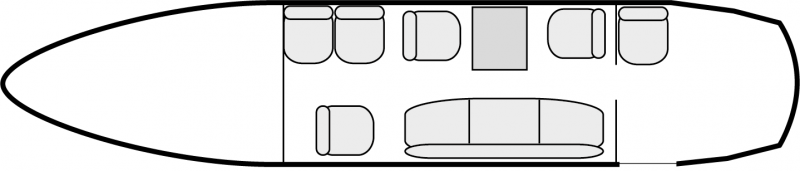 Other interior layout plan of Beechcraft Super King Air 200, short range Business Aircraft Charters, cabine de dimensions standard, max. of passengers: 9, with crew: 2 pilots, available for private business jets charter with a Air taxi.