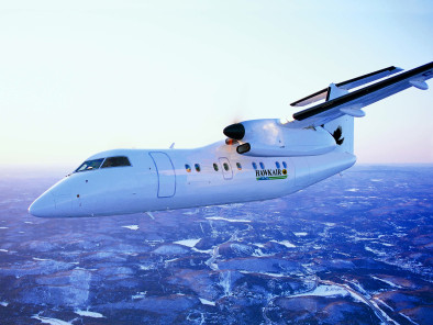 Image bombardier-dash-8-100-flying of Bombardier Dash 8-100 available for rent of flights with a Business Aircraft