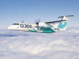 Image bombardier-dash-8-100-flying-sky of Bombardier Dash 8-300 available for rent of flights with a Business Aircraft
