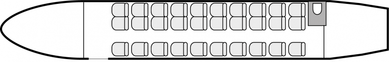 Interior layout plan of Dornier 328 TP, short range Business Aircraft Charters, aménagement de la cabine : avion de ligne, max. of passengers: 31, with crew: 2 pilots, 1 flight attendant, available for private business jets charter with a Airliner.