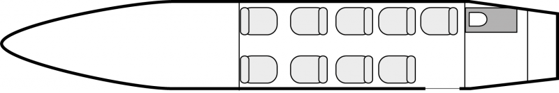 Interior layout plan of Fairchild Merlin III, short range Business Aircraft Charters, cabine de dimensions standard, max. of passengers: 9, with crew: 2 pilots, available for private business jets charter with a Air taxi.