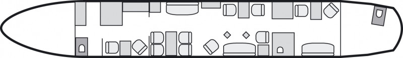 Interior layout plan of Airbus A318 Elite, long range Business Jets Charters, cabine de très grandes dimensions, aménagement VIP, max. of passengers: 19, with crew: 2 pilots, 3 flight attendants, available for private business jets charter with a Private Jet.