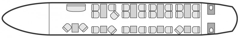 Interior layout plan of Airbus A319 CJ, long range Business Jets Charters, cabine de très grande dimension, aménagement VIP, max. of passengers: 44, with crew: 2 pilots, 2  to 4 flight attendants, available for private business jets charter with a Business Jet.
