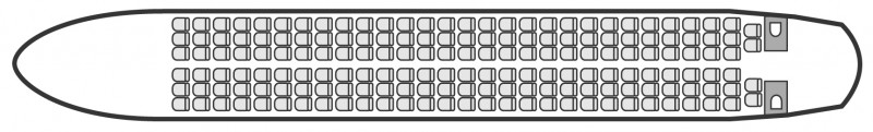 Interior layout plan of Airbus A321, airliners Charters, commercial airliner cabin seating, max. of passengers: 220, with crew, available for private business jets charter with a Airliner.