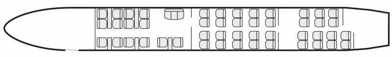 Interior layout plan of Boeing 757 Executive, long range business jets charters, cabine de très grandes dimensions, aménagement VIP, max. of passengers: 52, with crew: 2 pilots, 2 to 6 flight attendants, available for private business jets charter with a Business Jet.