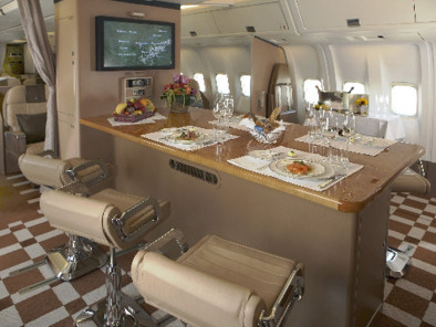 Image b767-table-diner of Boeing 767 Executive available for rent of flights with a Business Jet