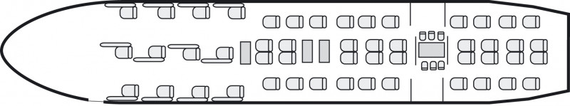Interior layout plan of Boeing 767 Executive, long range Business Jets Charters, cabine de très grande dimension, aménagement VIP, max. of passengers: 50, with crew: 2 pilots, 2 to 6 flight attendants, available for private business jets charter with a Business Jet.