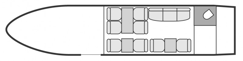 Interior layout plan of Bombardier Challenger 604, long range Business Jets Charters, large cabin executive aircraft - V.I.P. accomodation, max. of passengers: 18, with crew: 2 pilots, 1 flight attendant, available for private business jets charter with a Private Jet.