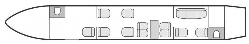 Interior layout plan of Bombardier Global Express, long range Business Jets Charters, large cabin executive aircraft - V.I.P. accomodation, max. of passengers: 14, with crew: 2 pilots, 1 or 2 flight attendants, available for private business jets charter with a Private Jet.