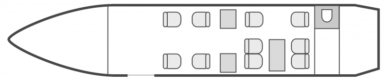 Other interior layout plan of Dassault Falcon 2000, long range business jets charters, cabine de grandes dimensions, aménagement VIP, max. of passengers: 10, with crew: 2 pilots, 1 flight attendant, available for private business jets charter with a Private Jet.