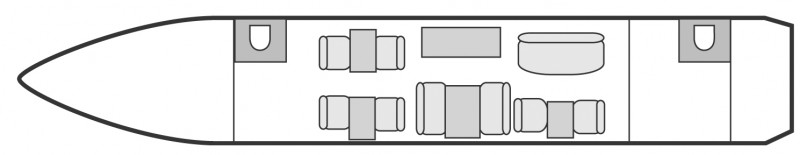 Interior layout plan of Gulfstream IV, long range Business Jets Charters, large cabin executive aircraft - V.I.P. accomodation, max. of passengers: 13, with crew: 2 pilots, 1 or 2 flight attendants, available for private business jets charter with a Private Aircraft.