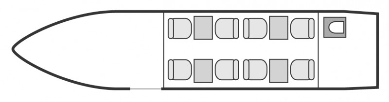 Interior layout plan of Hawker 4000, long range business jets charters, cabine de dimensions moyennes, max. of passengers: 8, with crew: 2 pilots, 1 attendant, available for private business jets charter with a Private Jet.