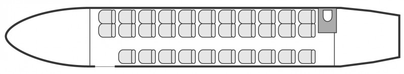 Interior layout plan of Dornier 328 Jet, airliners Charter, aménagement de la cabine : avion de ligne, max. of passengers: 32, with crew: 2 pilots, 1 flight attendant, available for private business jets charter with a Business Aircraft.