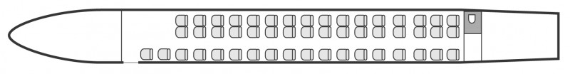 Interior layout plan of Embraer Erj 145 Jet, airliners Charter, aménagement de la cabine : avion de ligne, max. of passengers: 49, with crew: 2 pilots, 1 flight attendant, available for private business jets charter with a Private Jet.
