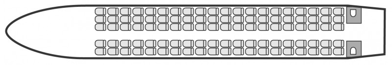 Interior layout plan of Fokker 100, airliners Charters, aménagement de la cabine : avion de ligne, max. of passengers: 100, with crew: 2 pilots, 2 or 3 flight attendants, available for private business jets charter with a Airliner.
