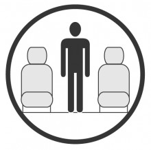 Sketch of the cabin section showing the height available for a passenger of Embraer Legacy 450, available for private jet charter with a Business Aircraft