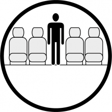 Sketch of the cabin section showing the height available for a passenger of ATR 42, available for private jet charter with a Airliner