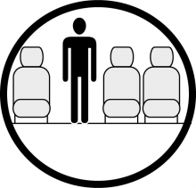 Sketch of the cabin section showing the height available for a passenger of Embraer 120 Brasilia, available for private jet charter with a Airliner