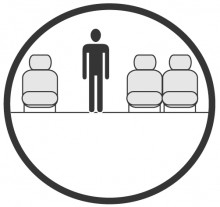 Sketch of the cabin section showing the height available for a passenger of Airbus A319 CJ, available for private jet charter with a Private Jet
