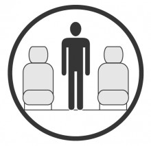 Sketch of the cabin section showing the height available for a passenger of Bombardier Challenger 350, available for private jet charter with a Business Jet