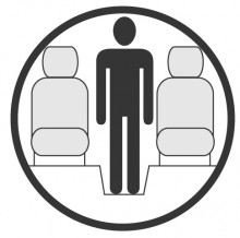 Sketch of the cabin section showing the height available for a passenger of Dassault Falcon 50, available for private jet charter with a Business Aircraft