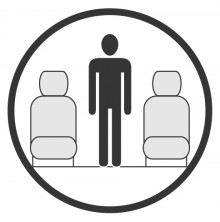Sketch of the cabin section showing the height available for a passenger of Embraer Legacy, available for private jet charter with a Private Jet