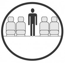 Sketch of the cabin section showing the height available for a passenger of Bombardier Regional Jet CRJ, available for private jet charter with a Business Jet