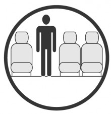Sketch of the cabin section showing the height available for a passenger of Embraer Erj 145 Jet, available for private jet charter with a Private Jet